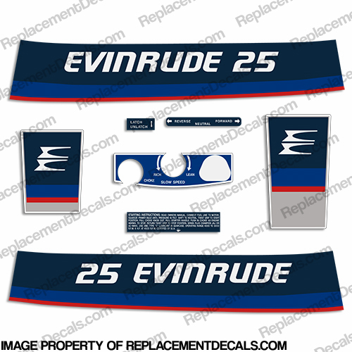 Evinrude 1975 25hp Decal Kit