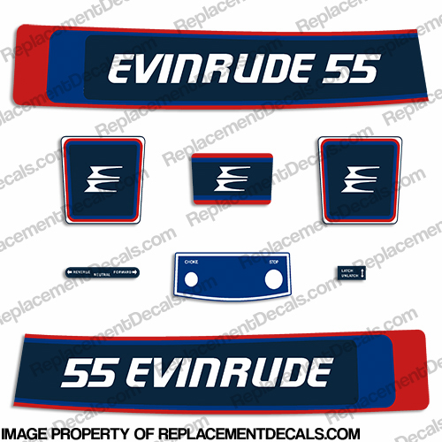 Evinrude 1976 55hp Decal Kit