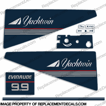 Evinrude 1986 9.9hp Yachtwin Decal Kit