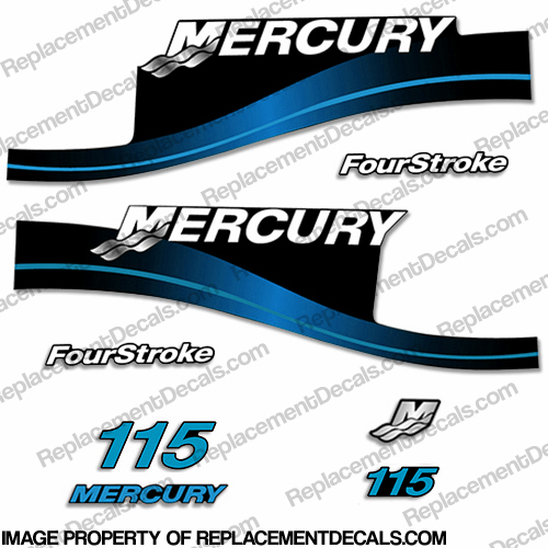 Mercury 115hp 4-Stroke Decal Kit 1999-2004 (Blue)