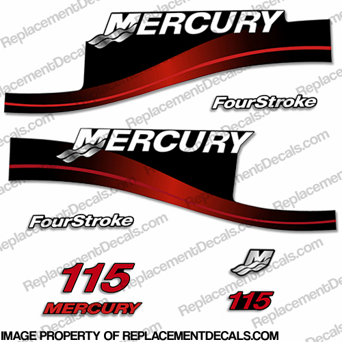 Mercury 115hp 4-Stroke Decal Kit 1999-2004 (Red)