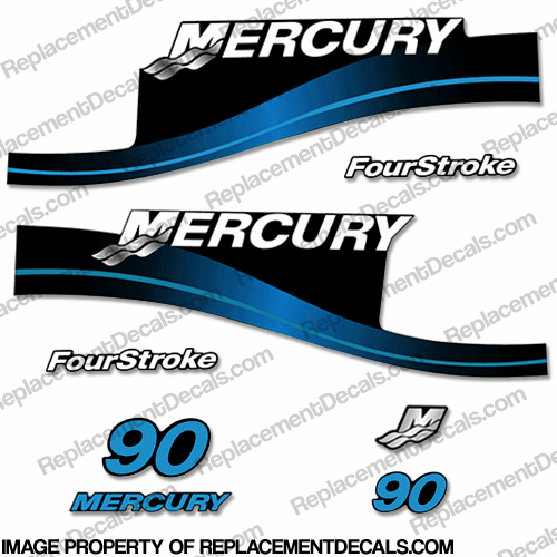 Mercury 90hp 4-Stroke Decal Kit 1999-2004 (Blue)