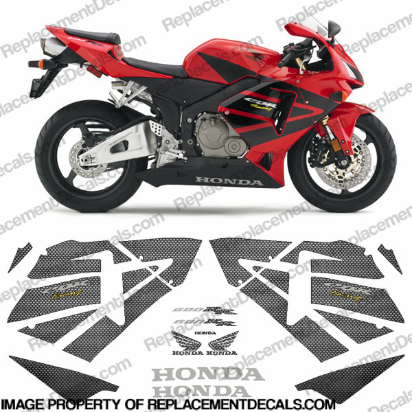 600RR Full Factory Replica Decal Kit 03-04 -Carbon Fiber