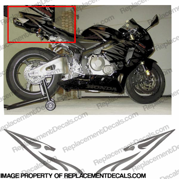 600RR Custom Tribal Tail Decals - Metallic Slate