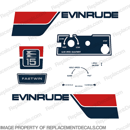 Evinrude 1974 15hp Decal Kit evinrude 15, 15 hp, 15, 1974, 74