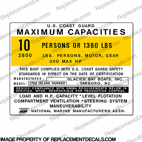 Boat Capacity Decal - Glacier Bay 2760 Island Runner - 10 person