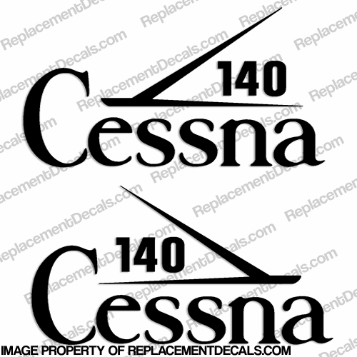 Cessna 140 Aircraft Logo Decals (Set of 2) - Any Color!