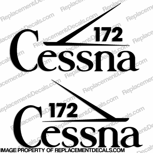 Cessna 172 Aircraft Logo Decals (Set of 2) - Any Color!