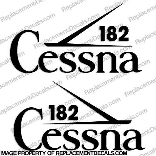 Cessna 182 Aircraft Logo Decals (Set of 2) - Any Color!