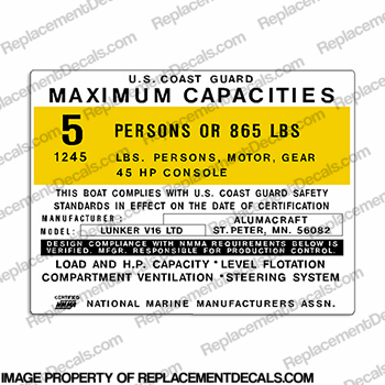 Boat Capacity Decal - Alumacraft Lunker V16 LTD - 5 Person
