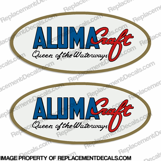 "Alumacraft ""Queen of the Waterways"" Oval Boat Decals  (Set of 2)"