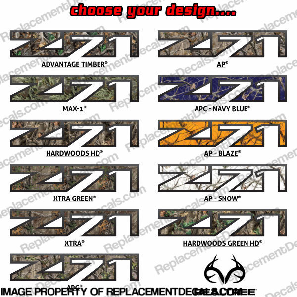 Chevy Avalanch Z71 Decals (Set of 2) - Real Tree Camoflauge