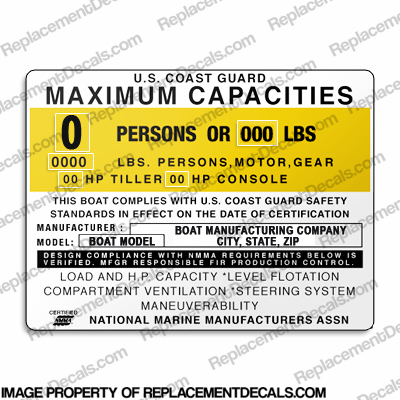 Boat Capacity Plate Decal - Generic Type B
