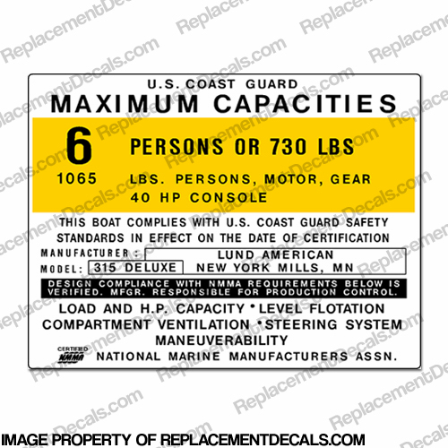 Boat Capacity Decal - Lund 315 Deluxe - 6 person