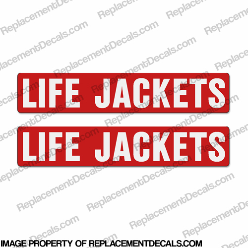 Boat Label Decals - Life Jackets (Set of 2) - Red Background