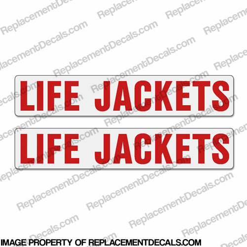 Boat Label Decals - Life Jackets (Set of 2) - White Background