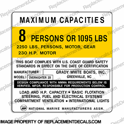 Grady White Overnighter 20 Boat Capacity Decal - 8 Person