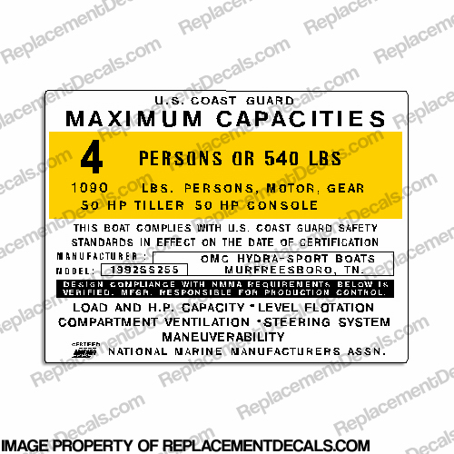 Boat Capacity Plate Decal - Hydra-Sport Model 1992SS255