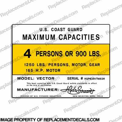 HydroStream Vector Capacity Plate Decal