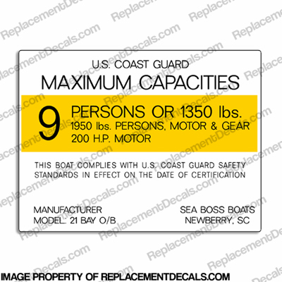 Boat Capacity Plate Decal - Sea Boss 21 Bay