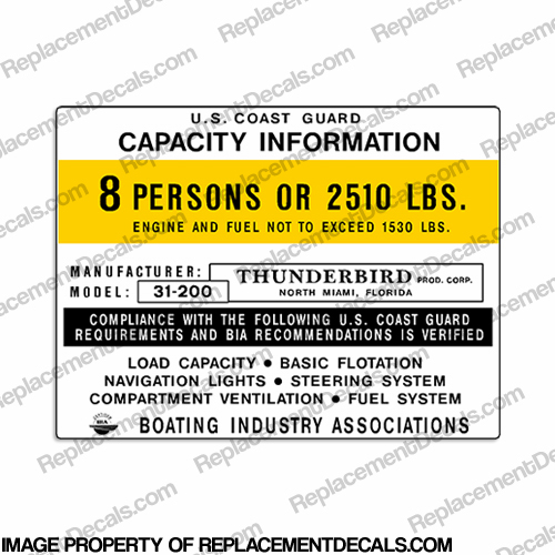 Boat Capacity Decal - Thunderbird Model 31-200 - 8 person