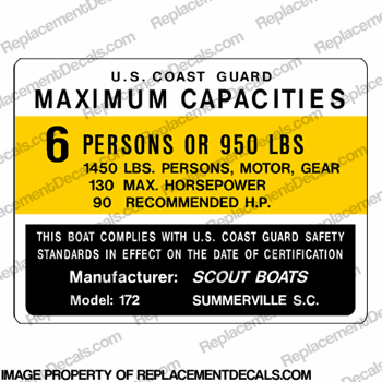 Boat Capacity Plate Decal - Scout 172