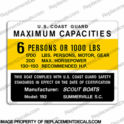 Boat Capacity Plate Decal - Scout 192