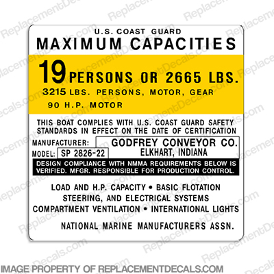 Boat Capacity Decal - Godfrey Conveyor SP 2826 - 19 person