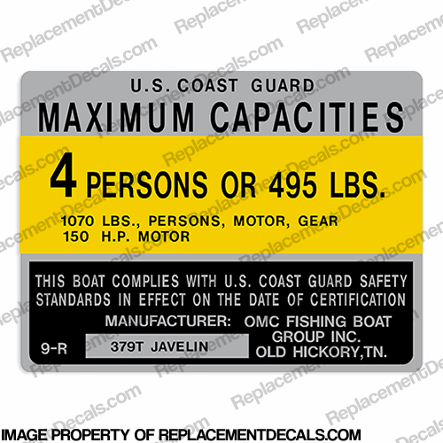 Boat Capacity Decal - Javelin 379T - 4 person