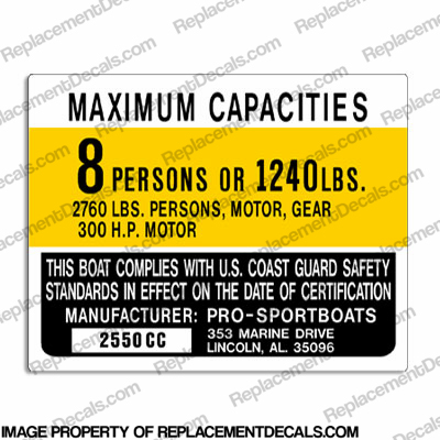 Boat Capacity Plate Decal - Pro-Sports 2550cc