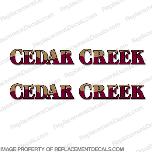 Cedar Creek RV Decals (Set of 2) - Burgundy/Tan
