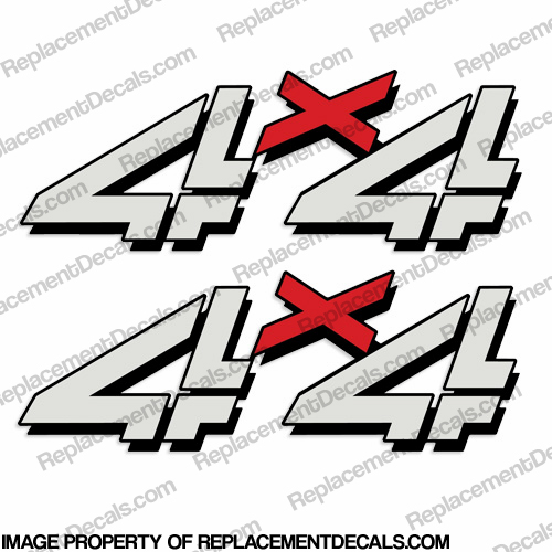 Chevy Silverado 4x4 Truck Decals (Set of 2) - Silver/Red
