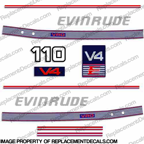 Evinrude 1989 - 1991 110hp Decal Kit