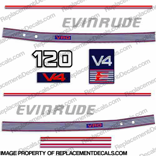 Evinrude 1989 - 1991 120hp Decal Kit