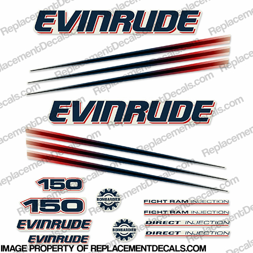 Evinrude 150hp Bombardier Decal Kit - 2002 - 2006