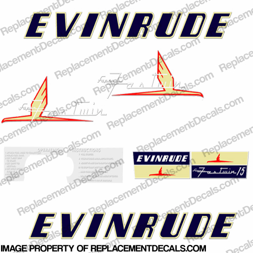 Evinrude 1954 15hp Decal Kit 1954, 54, 54, vintage,