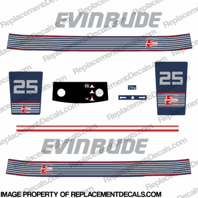 Evinrude 1990 - 1991 25hp Decal Kit