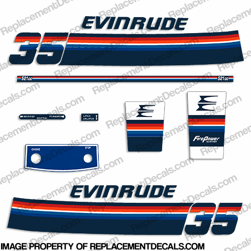 Evinrude 1978 35hp Decal Kit