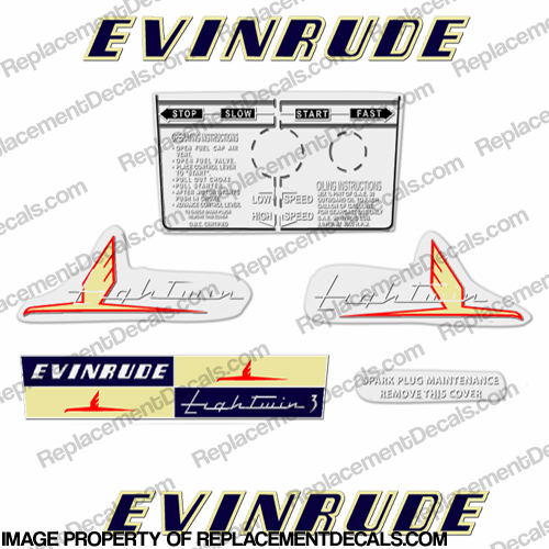 Evinrude 1954 3hp Decal Kit