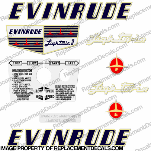 Evinrude 1956 3hp Decal Kit