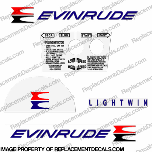 Evinrude 1961 3hp Decal Kit
