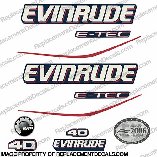 Evinrude 40hp E-Tec Decal Kit - Blue Cowl