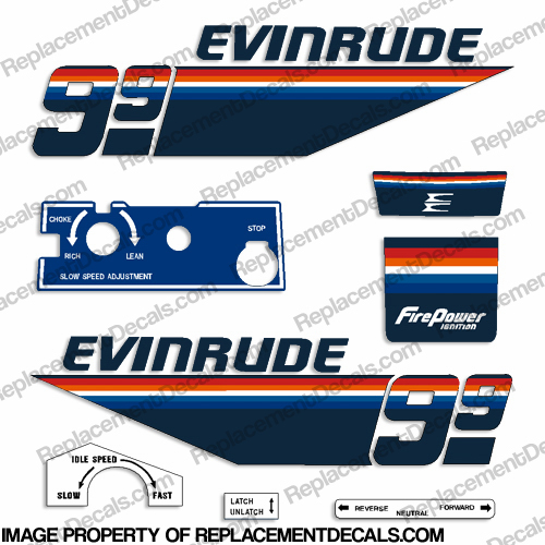 Evinrude 1978 9.9hp Decal Kit