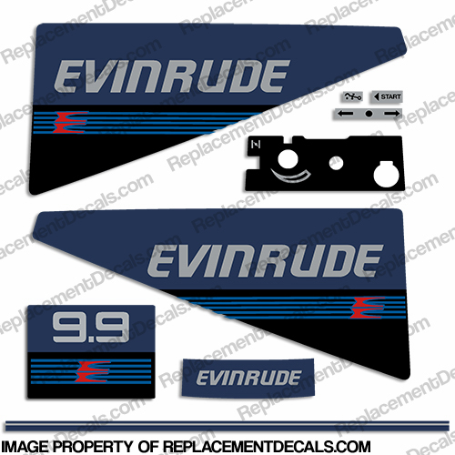 Evinrude 1987-1988 9.9hp Decal Kit