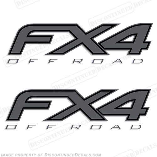 Ford FX4 Off Road Decals - Dark Gray/Black (Set of 2)
