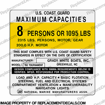 grady_white_192_tournament_8_Person_capacity_decal grady white gulfstream wiring diagram grady white boats, grady Grady White Marlin 300 at edmiracle.co