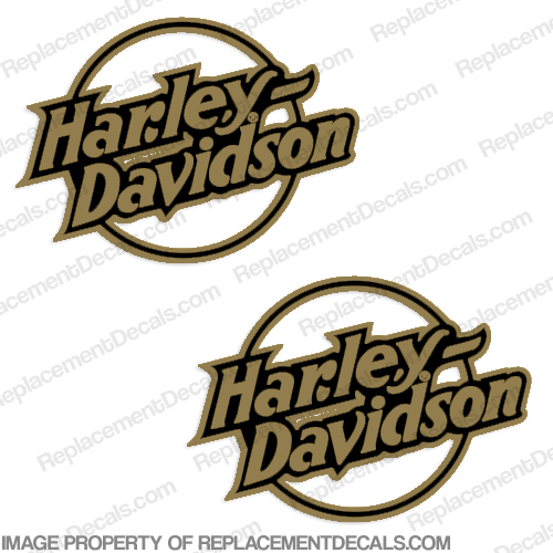 Harley-Davidson Fuel Tank Motorcycle Decals (Set of 2) - Style 11 - Gold harley, harley davidson, harleydavidson
