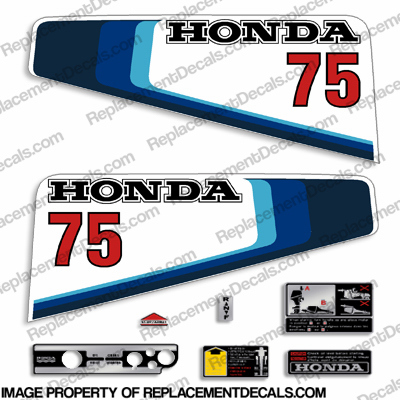 Honda 7.5HP (75) Outboard Decal Kit - 1982