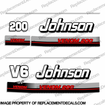 Johnson 200hp V6 Venom Decals - 1995 - 1996