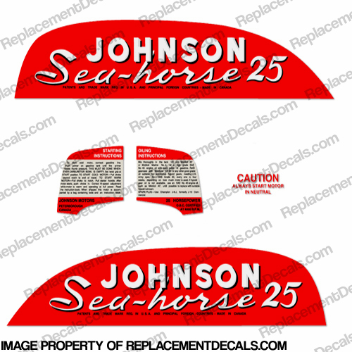 Johnson 1951 25hp Decals - Style A